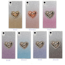 For Sony Xperia XA Case Heart-shaped with 360 Rotate Ring Holder Stand Luxury Gradient Color Glitter Back Cover for