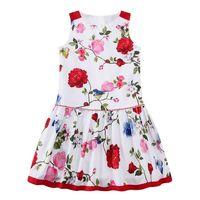Girls Floral Dress Flower Printing 2017 Summer Sleeveless Top Baby Kid Sunny Princess Dresses Children Clothes