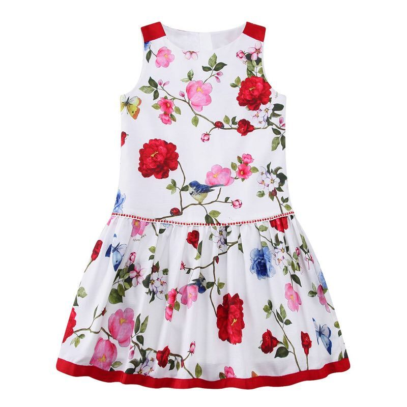 Girls Floral Dress Flower Printing 2017 Summer Sleeveless Top Baby Kid Sunny Princess Dresses Children Clothes For Wedding Party girls floral summer dresses baby clothing girl dress print sundress children cotton clothes flower dresses sleeveless dress 4 14