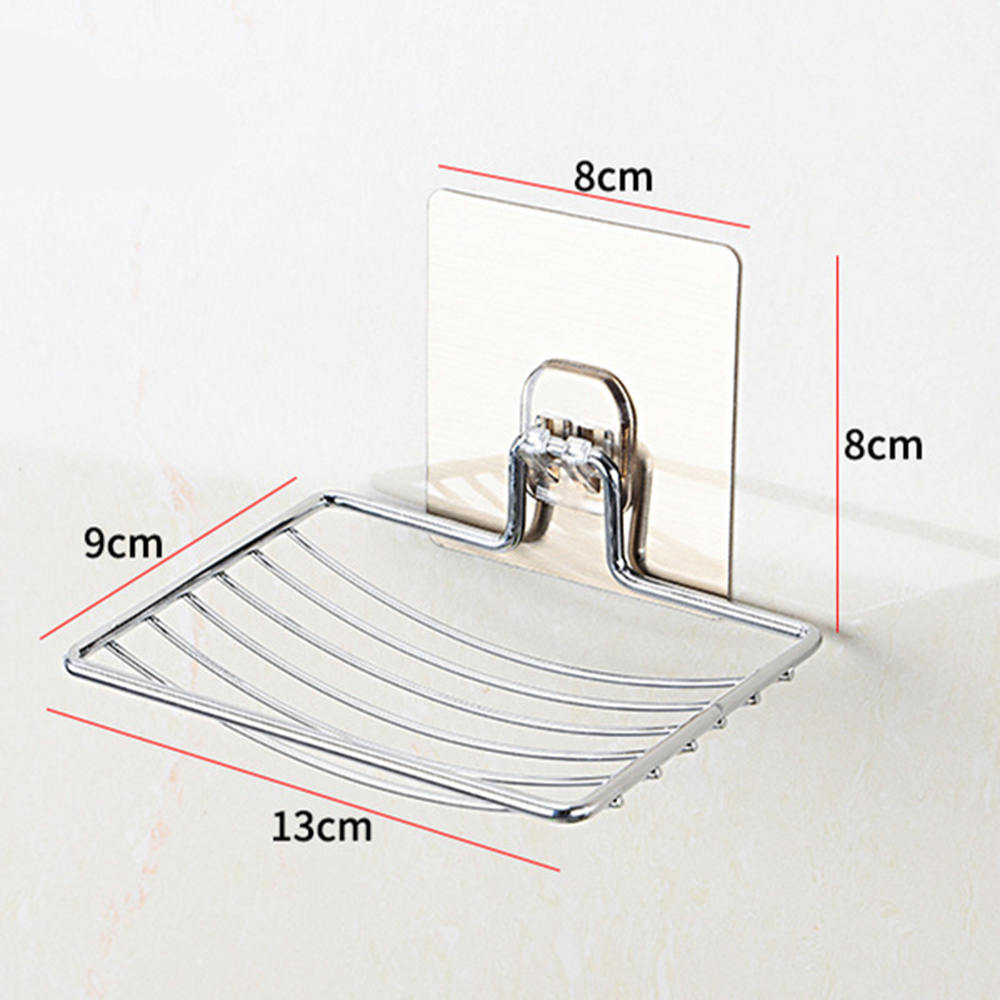 1pc Stainless Steel Suction Cup Soap Dish Drain Tray Holder Bathroom Storage