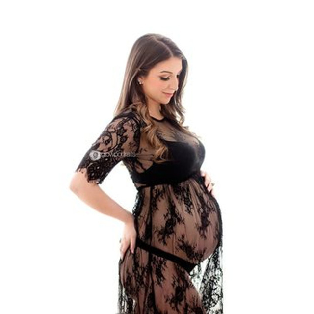 Fashion Maternity Photo Shooting Lace Dress Short Sleeve Maternity Gown O-neck Maternity Photography Dresses Fancy Props Gown
