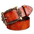 Caliente de La Manera de Ancho 100% Mujeres Correa de Cuero Genuina de La Vendimia Floral Correa Para Los Pantalones Vaqueros Ceinture Cinturones de Lujo Para Las Mujeres de Calidad Superior