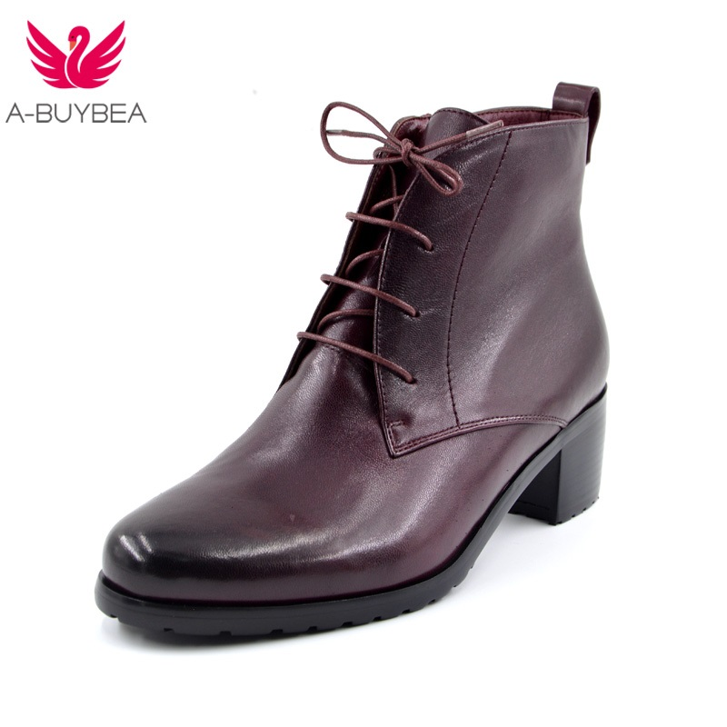 Hot Sale Women Fashion Genuine Leather Wine Red Ankle Boots Female medium Heels Platform Comfortable Round Toe Winter Shoes hot sale european style resin phoenix wine rack high end home accessories bar wine rack wholesale