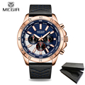Новый бренд MEGIR хронограф мужские часы Relogio Masculino Синие Кожаные Бизнес Кварцевые часы мужские армейские военные наручные часы
