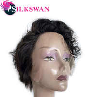 Silkswan Curly Human Hair Wig Natural Lace Front Short Pixie Cut Wig 150 Density Brazilian Hair Weave For Black Women