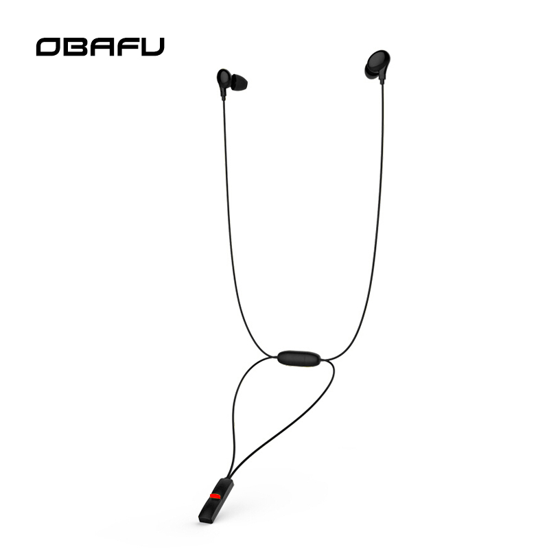 OBAFU M6 Necklace Wireless Bluetooth Earphone EDR Noise Cancelling Sweatproof in-ear Headset Sport Stereo Earbud omasen om m6 stylish stereo in ear earphone w microphone black white 110 cm