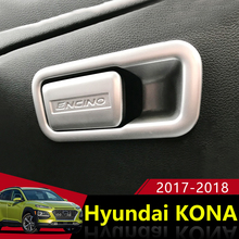 ABS Chrome Car Glove Box di Stoccaggio Copilota Interruttore Maniglia Paillettes Trim Coperture Autoadesivo Per Hyundai Kona Encino 2017 2018 Accessori