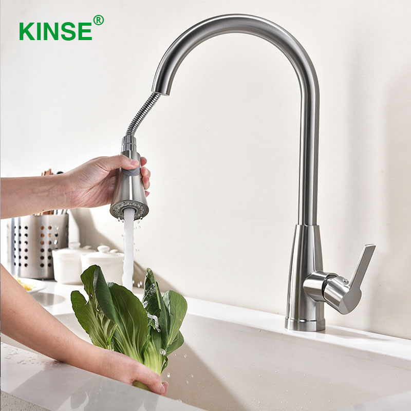 KINSE Modern Shining Brushed Pull Down Kitchen Faucet Brass Material Faucets with Sprayer