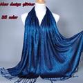 Llano Shimmer moda printe color sólido glitter viscosa lurex larga chales hijab musulmán del invierno del abrigo bufandas / bufanda 10 unids/lote