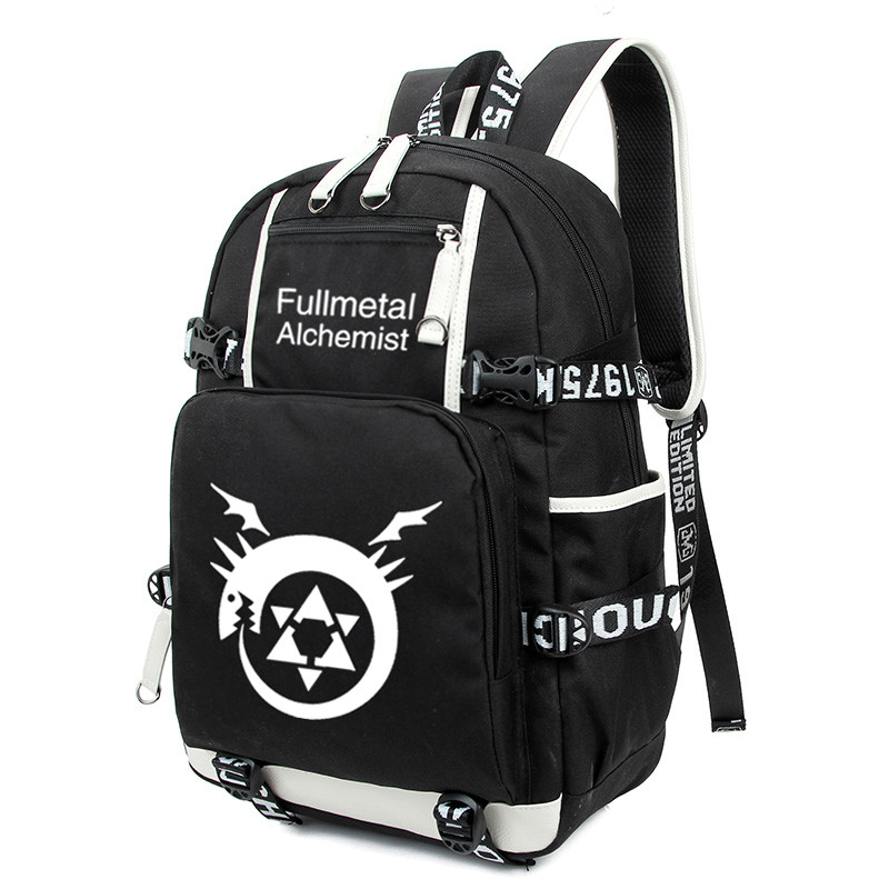 High Quality Anime Fullmetal Alchemist Mens Womens Student Laptop Backpack Nylon Notebook Computer Shoulder Bag Travel Mochila