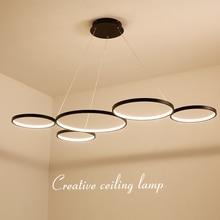 NEO Gleam Minimalism Black/White Modern Led Pendant Chandelier For Dining Kitchen Room Bar Living Deco Fixture