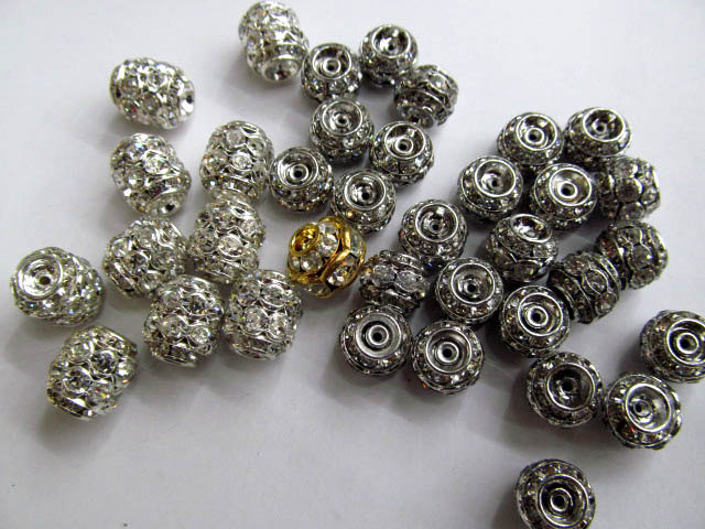 wholesale 50pcs 10mm LOT metal spacer Beads with clear crystal barrel rondelle silver antique mixed finding bead