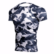 Camouflage Short Sleeve T-shirt Mens Running Compression Sport Shirt Men Dry Fit Breathable Rashgard Man Gym Fitness Tights MMA
