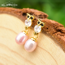 цены XlentAg 925 Sterling Silver Natural Pink Pearl Owl Drop Earring For Women Party Wedding Gift Earring Fine Luxury Jewelry GE0686