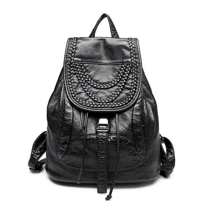 110316 women geninue leather cansual backpack double shoulder bag
