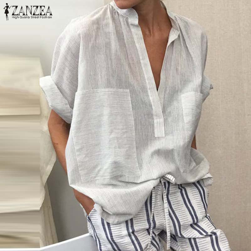Fashion Women V Neck Half Sleeve Blouse Summer Striped Shirt ZANZEA Tunic Tops Female Loose Cotton Linen Blusas Robe Femme Top