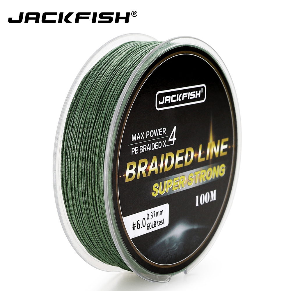 JACKFISH 100M 4 strand PE Braided Fishing Line With Gift 10-80LB PE Fishing Line with package Carp Fishing Saltwater