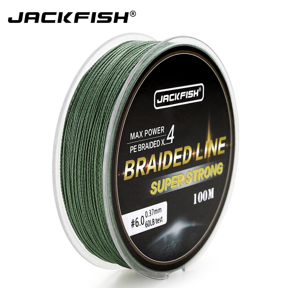 JACKFISH 100M 4 strand PE trenzado línea de pesca con regalo 10-80LB PE línea de pesca con paquete carpa pesca de agua salada