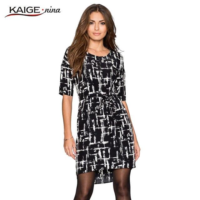 2016 Kaige. Nina vestido Mujeres del o-cuello y mangas medio vestido mujeres de talla grande ropa elegante elegante sexy vestidos de moda 9027
