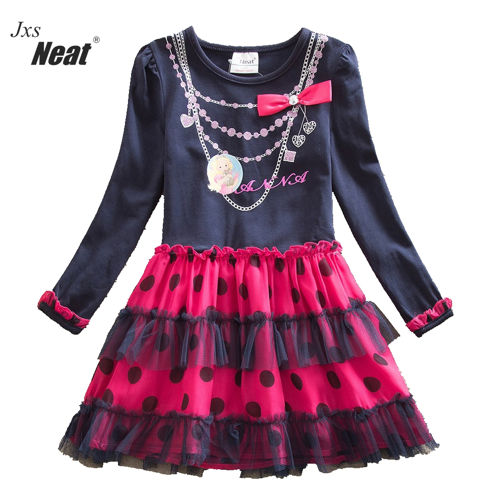 Girl long sleeves dress neat round neck cotton baby girl clothes fashion bow decoration lace girl princess evening dress LH5478