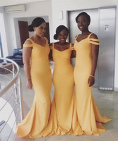 Simple Yellow Mermaid Bridesmaid Dresses 2018 Floor Length Spaghetti Strap Elastic Satin Long African Women Wedding Party Gowns