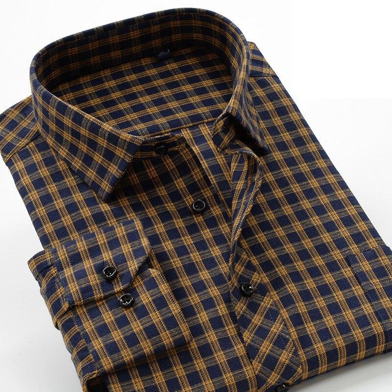 6xl 7xl 8lx 9xl 10xl negócios jovens casual magro camisa de marca 2020 outono e inverno grosso algodão quente xadrez camisa