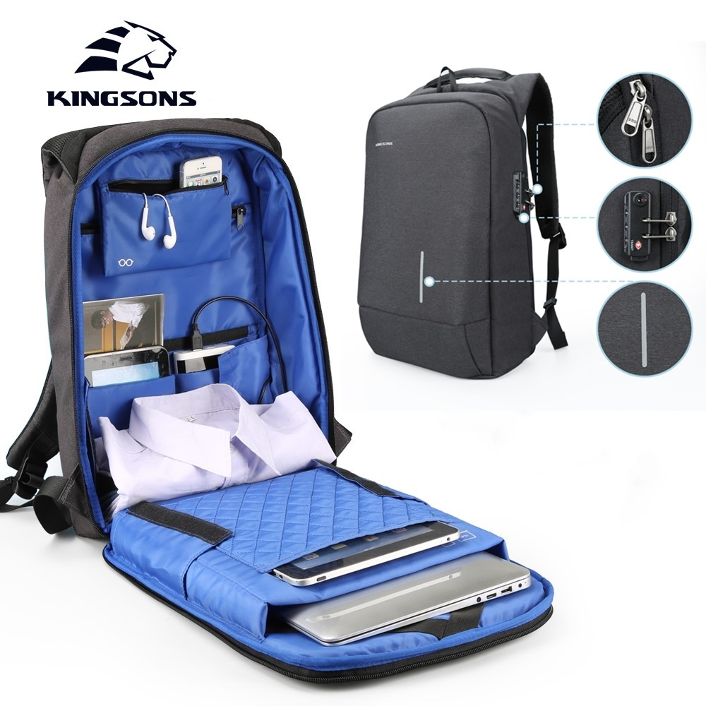 Kingsons Men Women Fashion Backpack 13 15 Inch Laptop Backpack with Anti theft Lock Leisure Travel