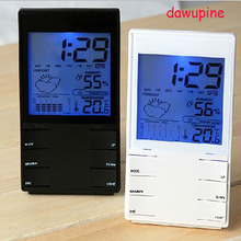 Cheapest prices dawupine Electronic Weather Station Thermometer Moisture Meter Electronic Clock Alarm Clock Perpetual Calendar Weather Forecast