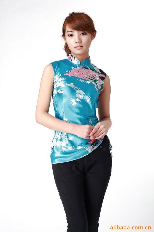Chinese Traditional Tops  Women's Satin Sleeveless Shirt Size: S To 3XL