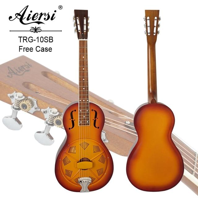 8b60642ba4 Aiersi Brand Metal Body Sunburst Color Travel Parlour Resonator Guitar Free  guitar Case