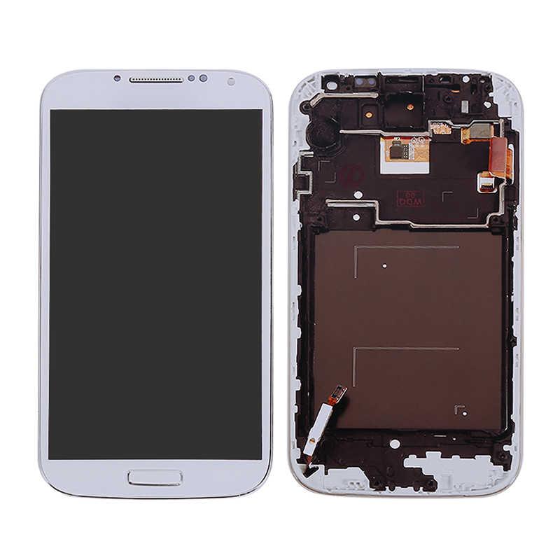 """I9500 LCD 5.0 """"الأبيض لسامسونج غالاكسي S4 i9500 شاشة الكريستال السائل محول الأرقام بشاشة تعمل بلمس الإطار الحافة قطع تجميع الزجاج المقسى"""