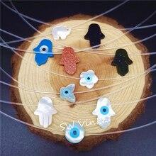 Новая песчаная каменная Хамса прозрачная Рыбная нить Фатима рука ожерелье в виде слона колье ожерелье для женщин или девочек