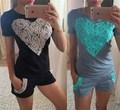 Juegos de Los Deportes 2016 de Las Mujeres Del Verano ocasional Bolsillos Tops + pantalones cortos de Encaje de La Moda Amor Del O-cuello de Playa de Manga Corta de Dos Piezas conjunto