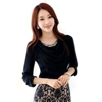 Chiffon Blouse 2016 Autumn Winter Elegant Pearl Beading Blouse Shirt Fitness Women Tops Plus Size Female