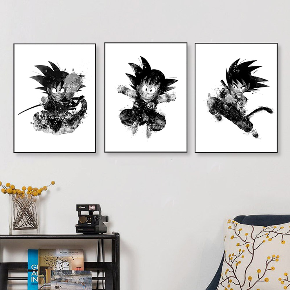 Watercolor japanese anime dragon ball canvas art print poster goku wall picture home decor paintings no frame in painting calligraphy from home garden