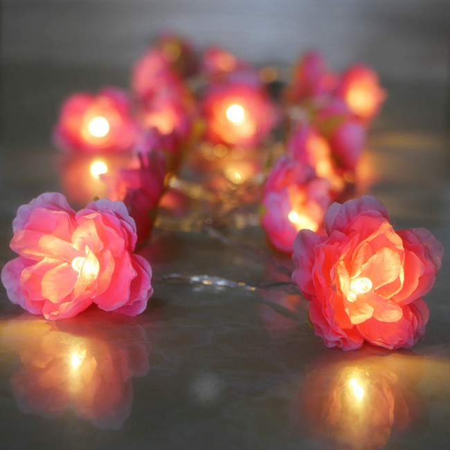 20 Led 5cm Fairy Pink Silk Flower Battery Operated String Lights 3m
