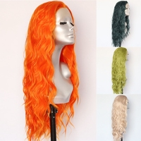 Lvcheryl Orange Color Hair Wigs Trendy Natural Long Water Wave Hair Party Wigs Heat Resistant Hair Synthetic Lace Front Wigs