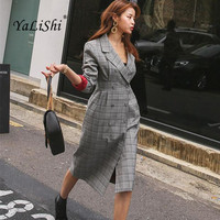 New Women Dress Autumn 2017 Office Gray Plaid Long Sleeve Bandage Bodycon Dress Double Breasted Party