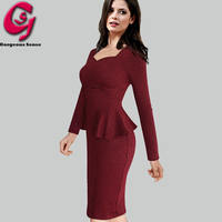 Women Peplum Ruffled Office Work Dress Long Sleeve Houndstooth Casual Bodycon Pencil Party Dresses Formal Ladies