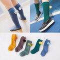 Nueva primavera Otoño niños Lindos Calientes bola niños bebés calcetines de algodón para niños niñas rodilla calcetines calientes sólido 1-6 T