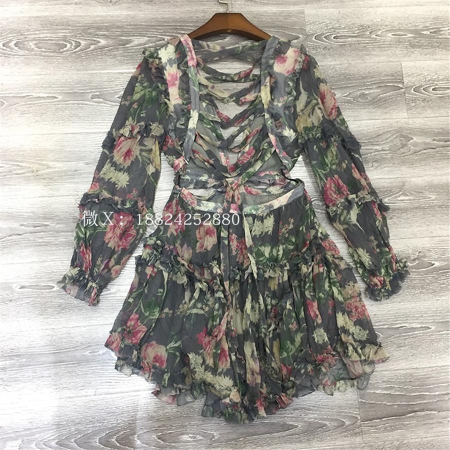 18 Autumn New Arrival Designer Women Mini-dress 100%silk Fabric Long Sleeve Flower Print Grey Sexy Backless V-neck Dress 1