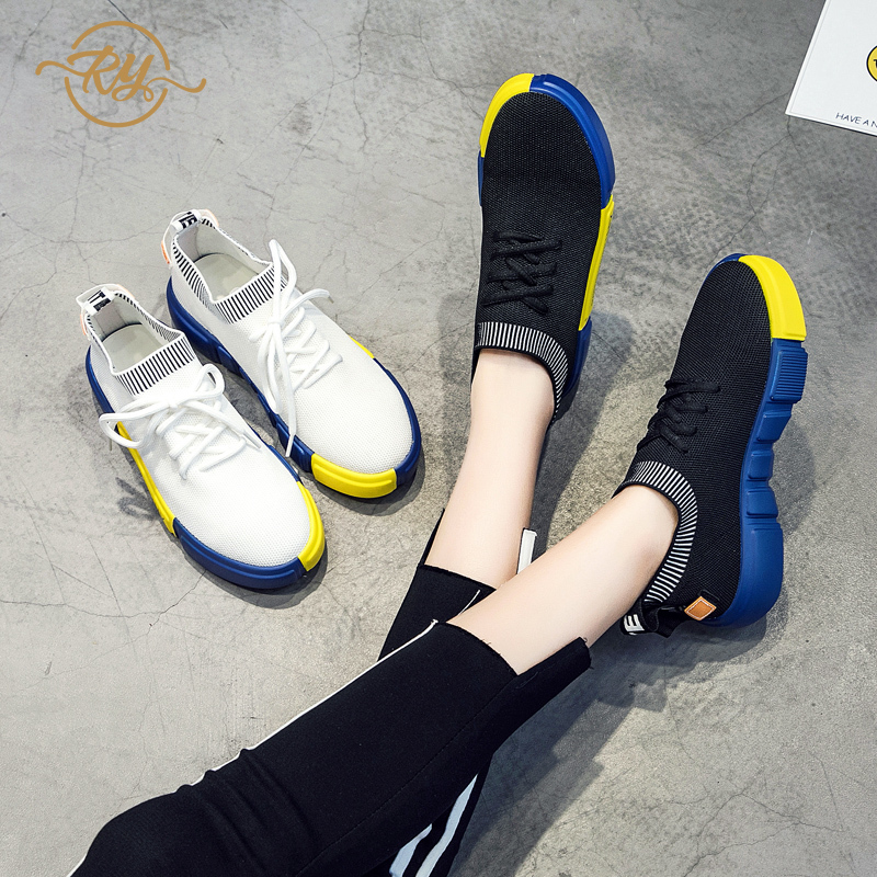 RY-relaa fashion women's shoes 2019 new breathable Korean version of the wild ins contrast color sports shoes flat bottom shoes(China)
