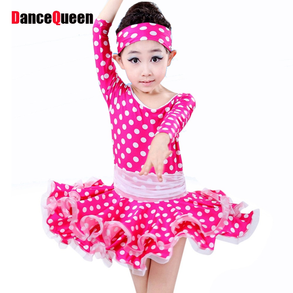 Костюмы для латиноамериканских танцев платье для танцев для Обувь для девочек в горошек розовый/синий детский танцевальный костюм платье и...