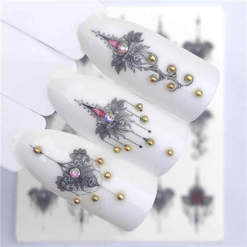 LCJ 2019 NEW Designs 1 Sheet Vintage Noble Grey Necklace Designs For Nail Art Watermark Tattoo Decorations Nail Sticker
