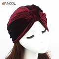 Women Beanie India Caps Retro Hijab Turban Dual Purpose Solid Pleated Kerchief Headwear Shower Velvet Indian Turban