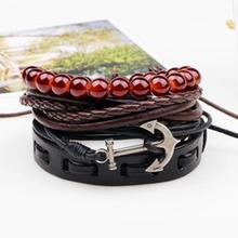 Korean Simple Vintage Wax Rope Woven Anchor Bracelet Fashion Men Leather Bracelet Imitation Beads Hand String