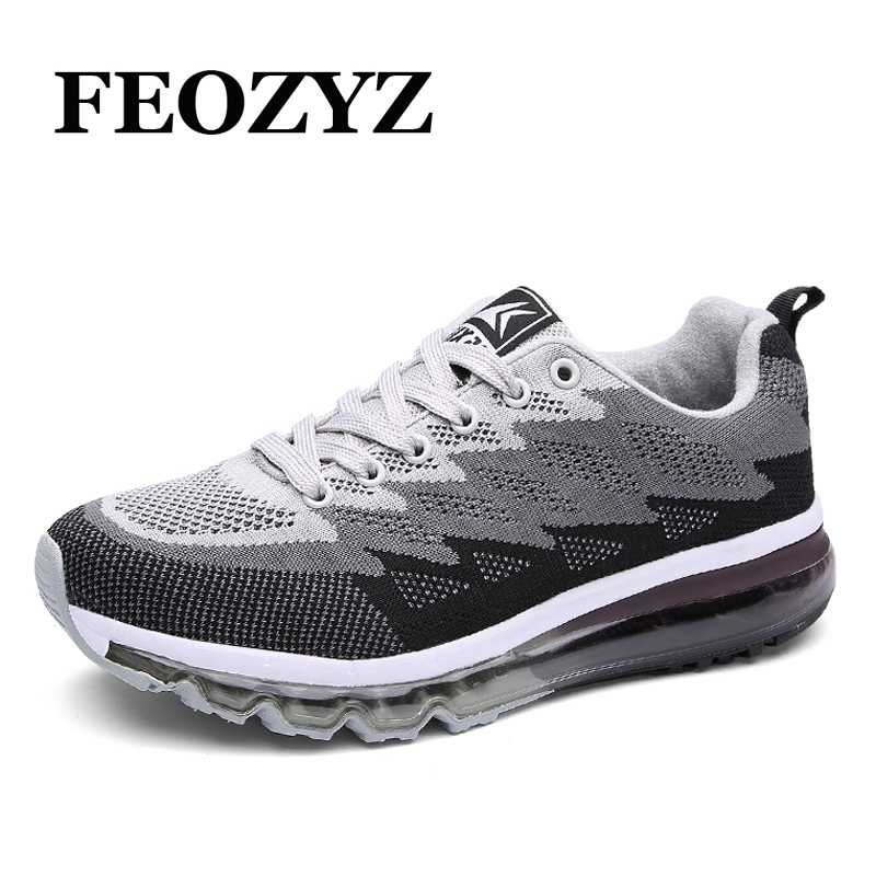 ФОТО FEOZYZ New 2017 Full Air Sole Running Shoes For Men Women Breathable Flywire Dampping Running Snekers Zapatillas Running Hombre