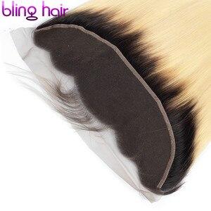Image 5 - Bling cabelo 613 loira em linha reta fechamento do cabelo brasileiro 13x4 fechamento frontal do laço midlle/livre/três parte 100% remy cabelo humano