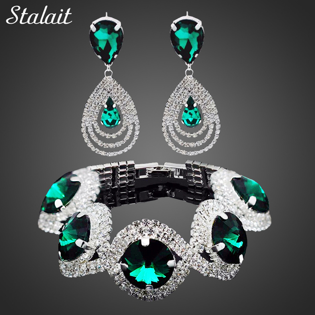 Fashion Wedding Bridal Jewelry Sets For Women Rhinestone Austrian Crystal Jewelry Set Bracelet Earrings Set Indian Accessories