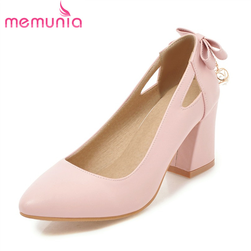 MEMUNIA female pumps women shoes high heels square heels wedding party shoes sweet butterfle-knot spring summer autumn shoes siketu free shipping spring and autumn high heels shoes career sex women shoes wedding shoes g012 nightclub pumps
